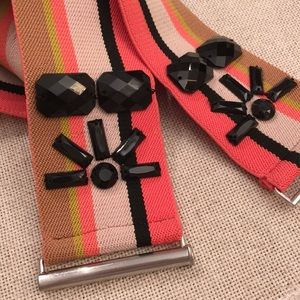 LOFT Accessories - LOFT  Web Elastic Striped Belt Black Acrylic